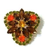 Juliana D&E Rhinestone Brooch Autumn Colors of Hyacinth Sable & Olivine ... - $44.57