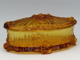 Vintage Fenton Art Glass Colonial Amber Rose Pattern Large Oval Trinket Box 1968 image 1