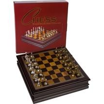 Chess Board Game Wood W/ Metal Pieces Grace Storage Box 12 Inch Set Fami... - $81.58