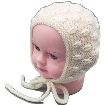 White baby bonnet, 0-3 months, merino alpaca blend, baby shower gift, ph... - $20.00