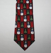 "4"" x 58"" Snowman Necktie Christmas Trees Hallmark Yule Tie Greetings Red - $9.85"