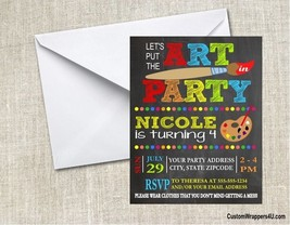 Art Paint Painting Chalkboard Birthday Party Invitations Personalized Cu... - $0.99+