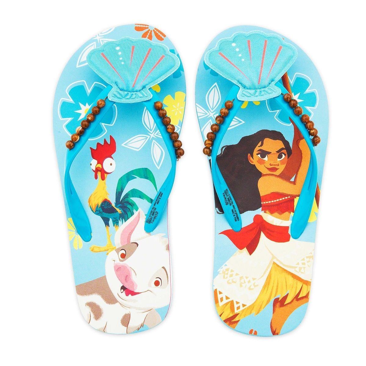 MOANA DISNEY PRINCESS Girls Flip Flops Beach Sandals w/ Optional Sunglasses NWT