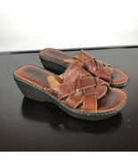 Born Women's Size 9  Brown grain Leather, Open Toe, Strappy Wedge Slide ... - $17.82