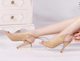 slangback sandals, open toe, 10 cm heels, US size 2-9.5, brown - $58.80