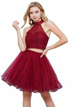 Halter Homecoming Dress 2018 Lace Tulle A-line Formal Two Piece Women Prom Gown - $99.99