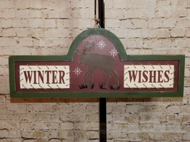 Winter Wishes Wooden Reindeer Winter Farmhouse Rustic Wall Hanging Sign - $20.84