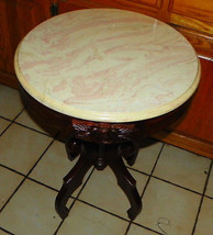 Round Mahogany Carved Marble Top Table - $399.00
