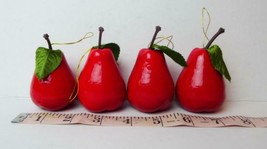 """Red Pear Ornaments 2.1/4"""" Tall Plastic Lot of 4 Pears - $8.17"""