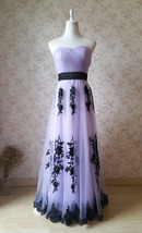 LIGHT PURPLE Strapless Sweetheart Neck High Waist Embroidery Maxi Wedding Dress
