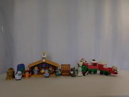 Little People Music Christmas Train Santa Reindeer Ms Claus + Nativity Set - $47.54