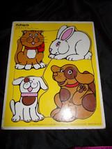 Vtg MY PETS Cat Dogs Playskool Wooden Hardboard Children's Frame Tray Puzzle - $9.02