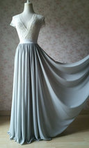 Silver Gray Chiffon Bridesmaid Skirt Floor Length Chiffon Wedding Party Skirt image 2