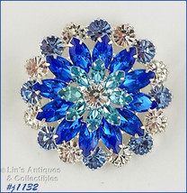 Signed Eisenberg Ice Clear and Shades of Blue Rhinestone Pin (Inventory ... - $100.00