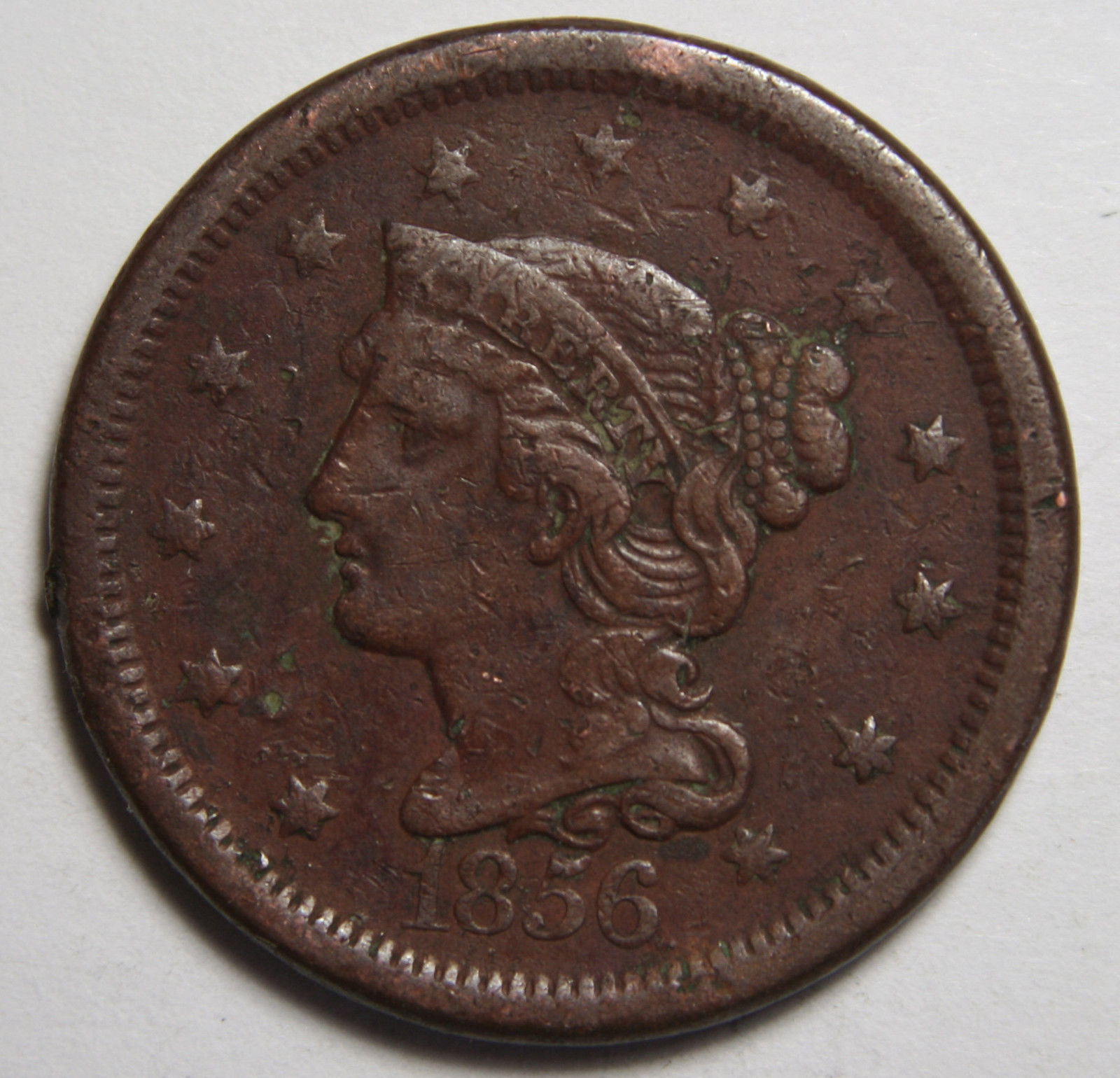 1856 Large Cent Liberty Braided Hair Head Coin Lot # MZ 4108