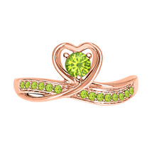 Round Cut Peridot 14k Rose Gold Over 925 Silver Lovely Heart Promise Ring - $59.49