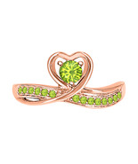 Round Cut Peridot 14k Rose Gold Over 925 Silver Lovely Heart Promise Ring - $69.99