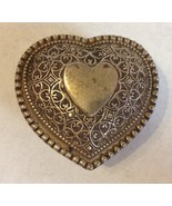 Vintage Heart Ornate Silver Metal Trinket Jewelry Box Scroll Floral Lined - $40.00