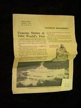 Junior Catholic Messenger Newsletter 1964 New York World's Fair Pieta - $16.99