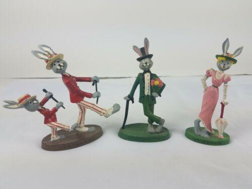Hallmark Debonaires Debonaire Rabbit Metal Sculptures Lot of 3 Lady Pair Hare
