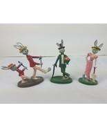 Hallmark Debonaires Debonaire Rabbit Metal Sculptures Lot of 3 Lady Pair... - $17.77