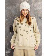 Long Sleeve Leopard Print Washed Terry Sweatshirt - $39.00