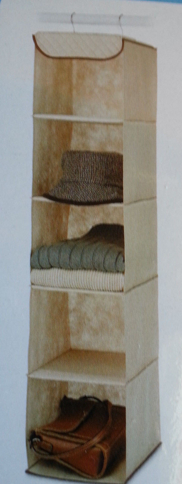 Hanging Clothes Closet Storage Organizer 5 Shelves Beige Quilted Durable Canvas