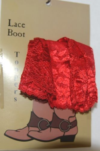 Unbranded BT152X103F Red Lace Boot Toppers Floral Print