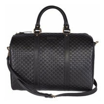 NEW Gucci Micro Guccissima Black Leather Boston Satchel Travel Shoulder Bag - $1,245.25