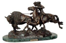 Buffalo Hunt Statue Handmade Bronze Sculpture By Frederic Remington Medium Size - $685.99