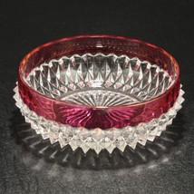 Indiana Glass Diamond Point Ruby Red Flashing Vintage Serving Bowl - $10.90
