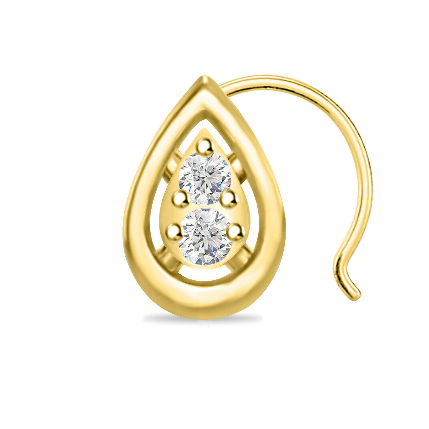 Primary image for 14k Yellow Gold Over Round Cut Diamond Two Stone Drop Shape Nose Pin 0.74 Carat