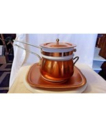 Copper Double Boiler & Ceramic Insert, Copper Tray Set from N.A. Copper Co. - $297.00