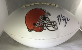 BAKER MAYFIELD / AUTOGRAPHED CLEVELAND BROWNS LOGO WHITE PANEL FOOTBALL / COA image 1