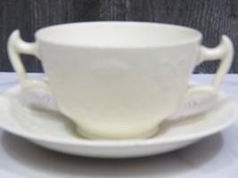 Scarce Copeland Spode Double Handled Cream Soup Boullion White Garland Bows - $27.72