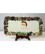 "Elegant Ceramic Santa Clause Toy-bag theme 12"" Platter Holiday Dessert P... - $24.75"