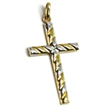 18K YELLOW WHITE GOLD CROSS PENDANT 30mm, 1.18 inches, ROUNDED ALTERNATE STRIPED image 2