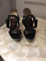 Lanvin Black Leather Ankle Strap Platform Sandal Size 36 - $99.99