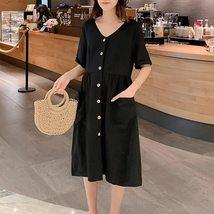 Maternity's Dress V Neck Short Sleeve Loose Solid Color Dress image 2