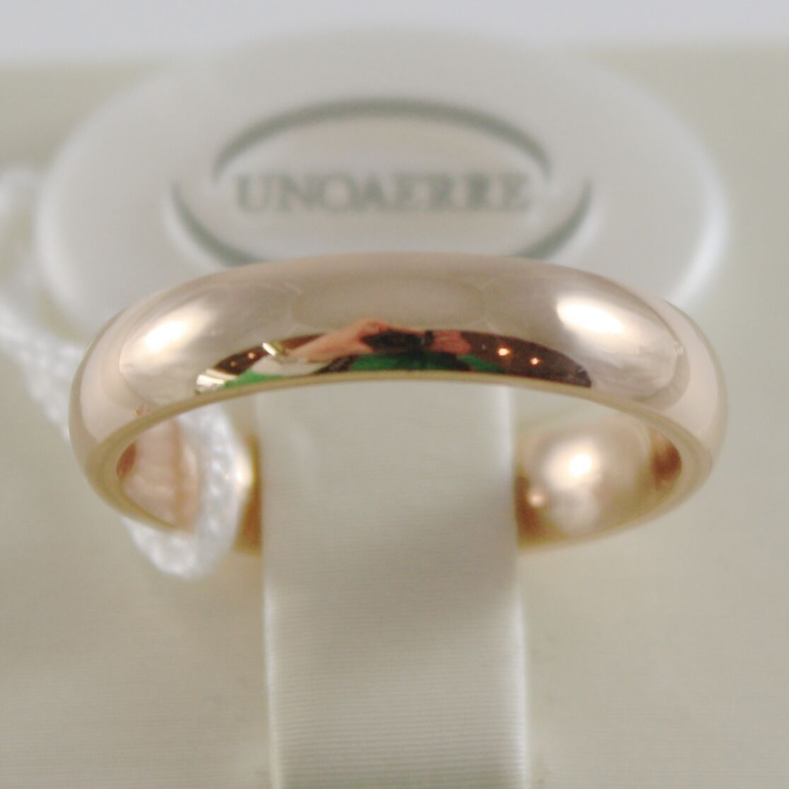 18K YELLOW GOLD WEDDING BAND UNOAERRE COMFORT RING MARRIAGE 4 MM, MADE IN ITALY