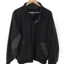 Footjoy Dryjoys Golf FULL Zip Jacket Herringbone Long Sleeve Lined Black Gold L - $36.62