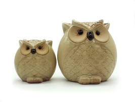 Set of 2 Ceramic Wise Owl Statue Animal Figurines for Home Office Decor ... - $17.81