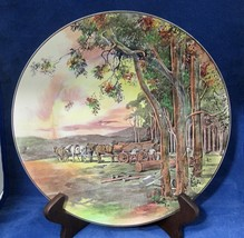 "Royal Doulton D5364 10 1/2"" Plate Men Cutting Tree's Horse Pulled Wagon ... - $44.55"