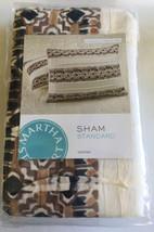 Two Martha Stewart Pleats Brown Black Cotton Quilted Striped Sham Standard New - $27.75