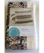 Two Martha Stewart Pleats Brown Black Cotton Quilted Striped Sham Standa... - $27.75
