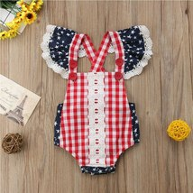 Cute Infant Baby Girls Clothes Fly Sleeve plaid Romper Bodysuit Jumpsuit Outfits image 2