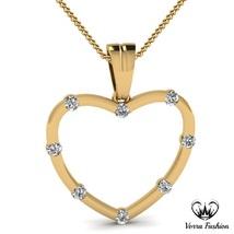 Heart Shape Womens Pendant W/ Chain Round Cut Diamond 18k Gold Plated 92... - £37.30 GBP