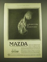 1918 General Electric Mazda light bulb Ad - the mark of a service - $14.99