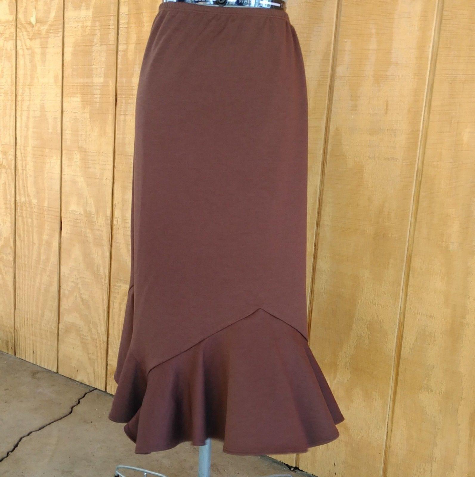 Elementz Brown Stretch Skirt Flared Bottom Size XL