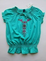 GapKids Girls Blouse Top Short Sleeve Teal Embroidered Size 5 years NWT - $14.99